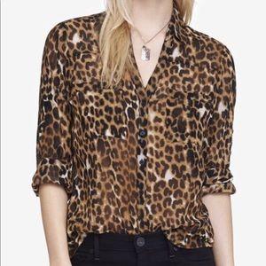 Cheetah Print Portofino Blouse-Original Fit